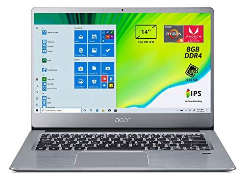 Acer Swift 3 SF314-41-R1G0 Notebook con Processore AMD Ryzen 5 3500U, RAM da 8 GB DDR4, 512 GB PCIe NVMe SSD, Display 14' FHD IPS LED LCD, Scheda Grafica AMD Radeon Vega 8, Windows 10 Home, Silver