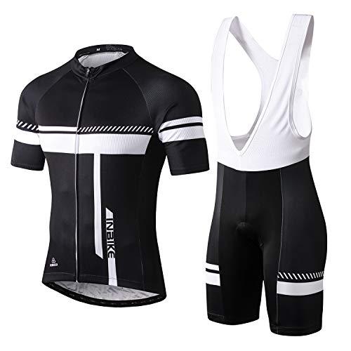INBIKE Fahrradtrikot Herren Kurzarm Damen Fahrradbekleidung Männer Set Kurz Fahrrad Trikot und Brace Radlerhose mit Sitzpolster(Weiß, XL)
