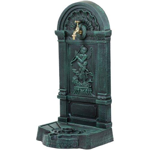Maxstore Standbrunnen aus Gusseisen mit Wasserhahn, 76x35x30cm, 22,5kg schwer Springbrunnen dunkelgrün/schwarz, Wandbrunnen
