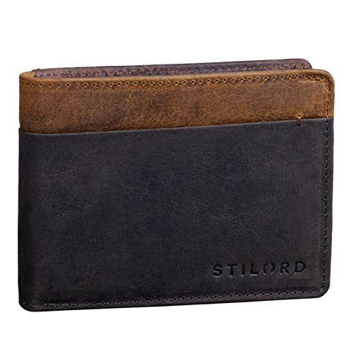 STILORD 'Sterling' Cartera RFID Hombre Cuero Portamonedas NFC Bloqueo Monedero Clásico Billetera Portatarjetas de Piel Genuino, Color:marrón Oscuro