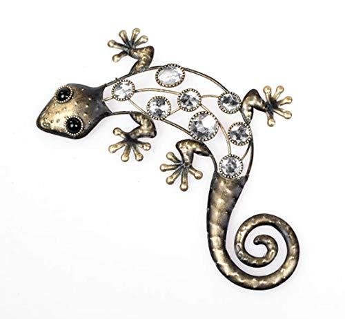 Deko Figur Wanddekoration Gekko 30 cm, Metall mit Regenbogenkristall Acryl, Wandfigur Eidecksechse Gecko Lurch Metalldeko