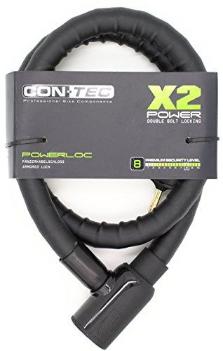 CONTEC Unisex– Erwachsene Powerloc Fahrradschloss, schwarz, Ø 25 mm, 120 cm lang