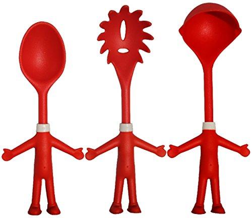 Mr. Spaghetti & Friends, Nudel-Servier-Set, 3 witzige Küchenhelfer, Küchenutensilien, Pasta-Set...