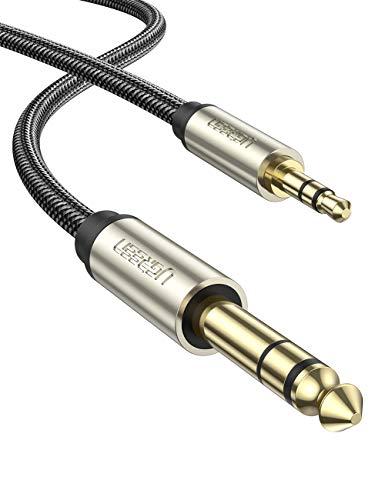 UGREEN Cable Jack 3.5mm a 6.35mm Macho a Macho, Cable Nylon Trenzado Audio Estéreo HiFi, Cable de Instrumento para Guitarra, Mezclador, Amplificador, Altavoces, Dispositivos de Cine en Casa, 1 Metros