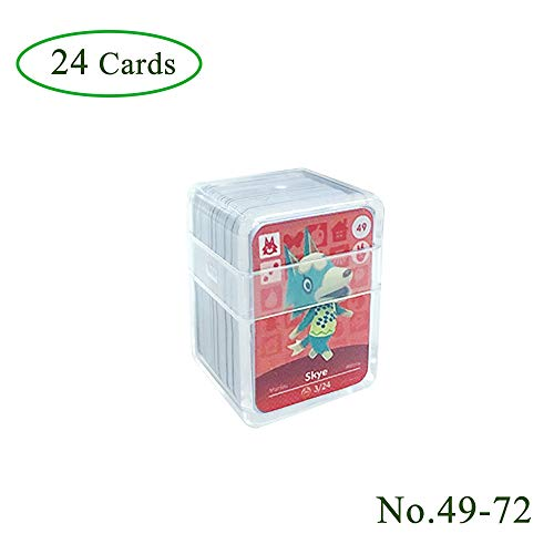 24 pieces NFC Tag Game Cards for Animal Crossing, (# 49-# 72).  Botw Card Cards with Crystal Sleeve Compatible with Nintendo Switch / Wii U
