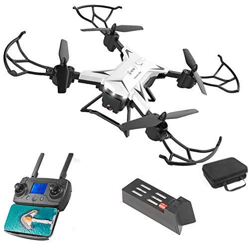 LYXMY 4K Fotocamera Drone, KY601G RC Quadcopter con Luce LED Intelligente Seguire, 6 ASSE Giroscopio Calibrazione, Wi-Fi Cellulare Controllo,Doppio GPS, RC Droni Kit - Bianco, 1 Batteria