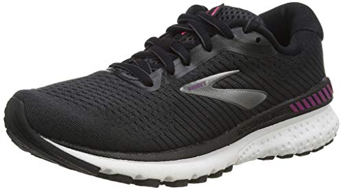 Brooks Women's Adrenaline Gts 20 Running Shoes, Black/White/Hollyhock, 5 UK (38 EU)