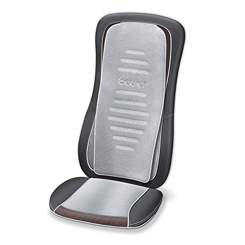 Beurer MG 300 Shiatsu Massage-Sitzauflage / elektrisches Massage-Gerät zur Nacken- und Rückenmassage / Licht- und Wärmefunktion / automatische Körperscan-Funktion / schwarz-grau / Maschinenwäsche