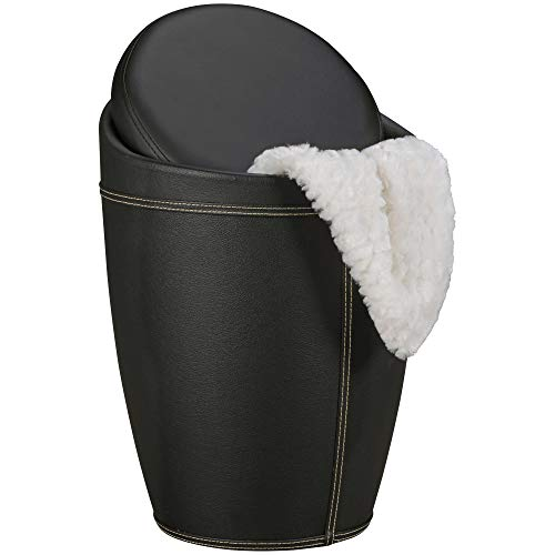 FineBuy Wäschebehälter Store Wäschekorb Farbe Schwarz Hocker mit Funktion Badhocker gepolstert mit Stauraum Bezug Kunstleder Sitzhocker 100 kg Lederhocker mit Deckel Aufbewahrung Badezimmer rund