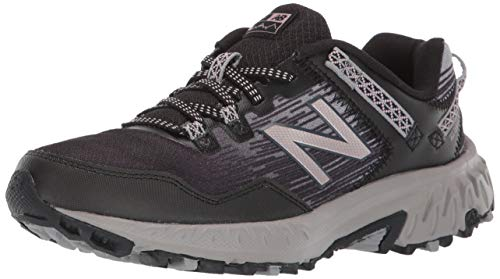 New Balance Women's 410 V6 Trail Running Shoe, Black/Magnet/Champagne Metallic, 6 W US