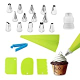 Frosting Tips and Piping Bags - Eopres 20Pcs Piping Set Cake Decorating Tools Reusable Baking Supplies 14 Nozzle, 1 Reusable Pastry Bags, 3 Icing Smoother, 1 Coupler, 1 Seal clip(Green)