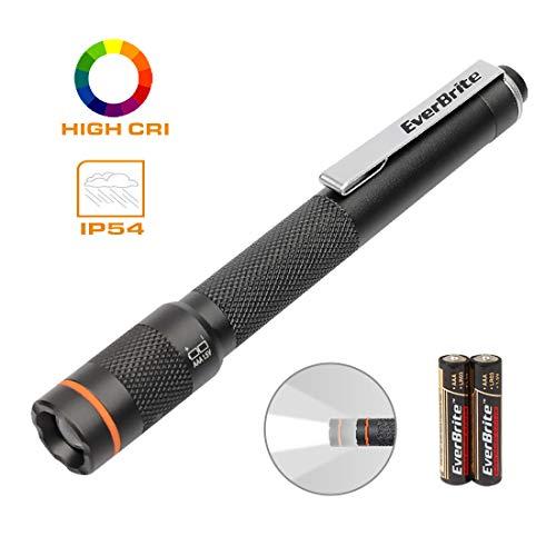 EverBrite Pen Light Flashlight - Pocket LED Penlight CRI90, Adjustable Focus High Lumen Pen Flashlight, Portable & Waterproof Small LED Flashlights, Powered by 2 AAA Alkaline Batteries Included