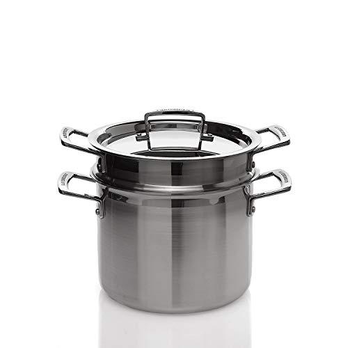 Le Creuset 3-ply Pastatopf mit Deckel und Sieb, Ø 20 cm, Rostfreier Edelstahl, 5,0L Volumen, Für alle Herdarten inkl. Induktion geeignet, Silber