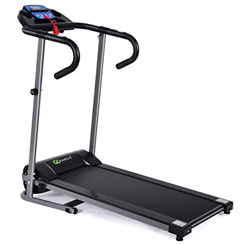 Goplus 1100W Electric Folding Treadmill, with LCD Display and Heart Rate Sensor, Compact Running Machine for Home 7