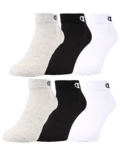 Champion 6pk Quarter Socken Calzini, Grigio Chiaro/Bianco/Nero, 35-38 Unisex-Adulto