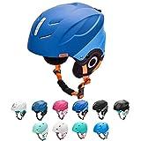 meteor Casque de Ski Snowboard Sport Helmet Homme Femme avec Ceinture Ajustées d'hiver Fentes d'Aération Mentonnière Rembourrée Clip à Masque de Ski (L 58-61 cm, Bleu Marine/Bleu)