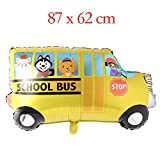 Big Toy Car Foil Ballon Kids Baby Shower Boy Tank Plane Ambulance Bus Fire Truck Birthday Party Decoration Train Cars Balloons (School Bus)