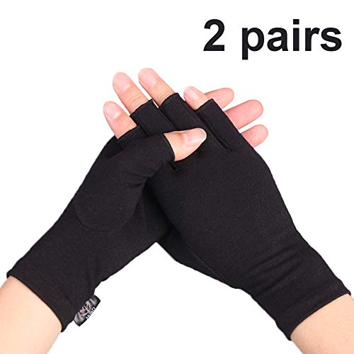 Compression Arthritis Gloves, 2 Pairs Open Finger Hand Gloves for Women Men, Fingerless Design to Relieve Painfrom Rheumatoid and Osteoarthritis(Pure Black, Medium)