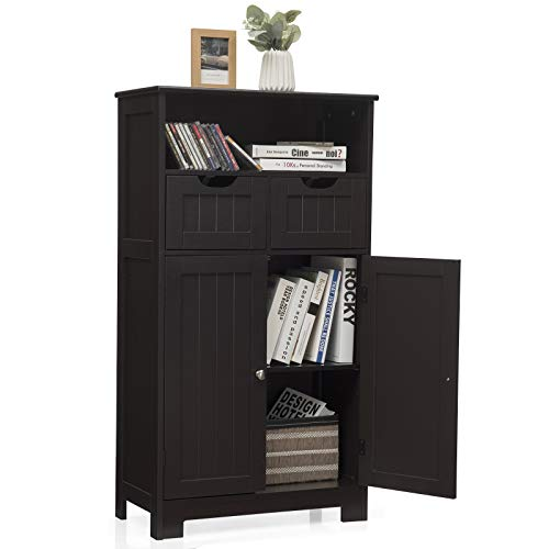 Tangkula Bathroom Floor Cabinet, Storage Cabinet w/One Open Shelf Two Doors and Two Adjustable Drawers, Standing...