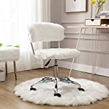 CIMOTA White Home Office Chair Cute Fluffy Vanity Chair with Back Task Upholstered Fur Armless Swivel Desk Chair for Study Room, Height Adjustable