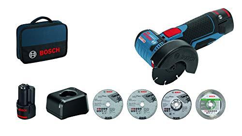 Bosch Professional 12 V System Meuleuse d'angle sans fil GWS 12 V-76 (2 batteries 12V 2,0 Ah, 5 disques, dans une sacoche)