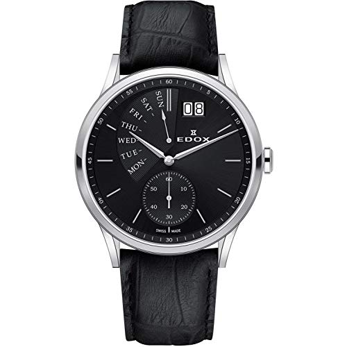 Edox Les Vauberts Herren-Armbanduhr 42mm Armband Leder Schwarz Gehäuse Edelstahl Batterie 34500 3 NIN