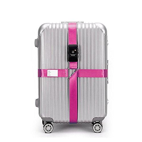 BlueCosto Black TSA Lock Adjustable Luggage Strap Cross...