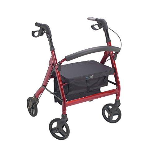 Juvo Heavy-Duty Premium Bariatric Rollator with 400-Pound Capacity and Comfortable 22' Wide Seat, Cherry Red (HDR101)