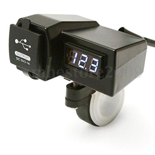 【ノーブランド 品】オートバイ GPS携帯電話  USB電源ソケット充電器+ BULE電圧計 3.1A  USB2ポート