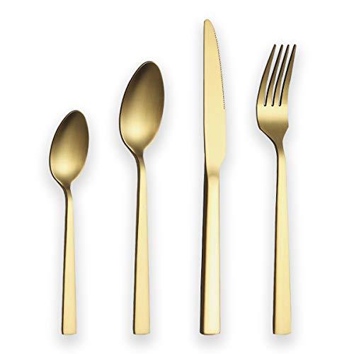 Berglander Set di posate da 24 pezzi con placcatura in titanio dorato, set di posate in acciaio inossidabile dorato, set di posate in oro, servizio per 6 (oro opaco)