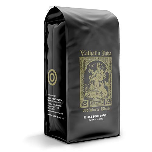 VALHALLA JAVA Whole Bean Coffee [12 Oz.] The World's Strongest Coffee, USDA Certified Organic, Fair Trade, Arabica and Robusta Beans (1-Pack)