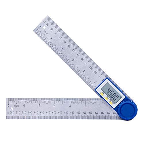 Goniometro Digitale,Hanmer Righello 200mm con Funzione di Azzeramento e Bloccaggio, Display LCD digitale, Batteria a Bottone Inclusa per la Lavorazione del Legno, la Costruzione, la Riparazione