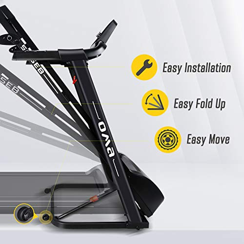 OMA Home Treadmills, Max 2.25 HP Folding Incline Treadmills for Running and Walking Exercise with LED Display of Tracking Heart Rate, Calories - Black 2