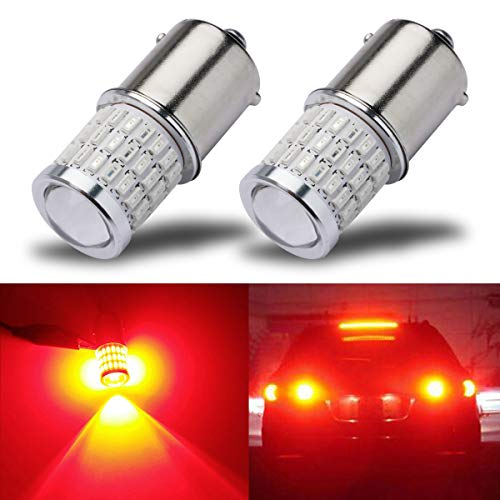 iBrightstar Newest 9-30V Super Bright Low Power 1156 1141 1003 BA15S LED Bulbs with Projector replacement for Tail Brake Lights, Brilliant Red