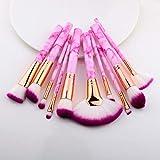 MYSdd 5/15 Piezas Pinceles de Maquillaje Juego de Herramientas cosmético Polvo Sombra de Ojos Base Rubor Mezcla Belleza Maquillaje brocha Maquiagem - Sector 10 PiezasRosa