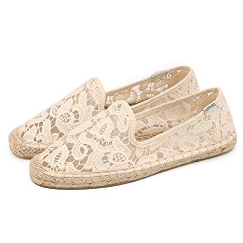 Mujeres Alpargatas Verano Color sólido de Encaje de Malla Slip on Low Top Shallow Woven Lino Bottom Flat Single Shoes Ladies Zapatos Casuales