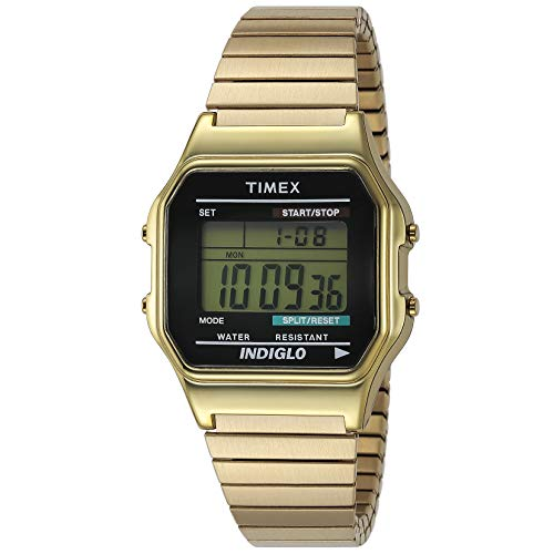 Timex Unisex Digital Uhr mit Edelstahl beschichtet Armband T78677PK