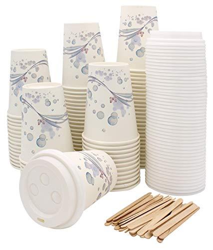 Exxens 100 Bicchieri Carta per Prendere Il caffè – Tazza con Coperchio 265 ml con Palette in Legno monouso imbustate - per tè, Bevande Calde e Fredde, Cioccolata