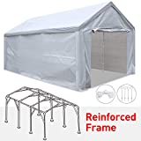 Tentking Rainproof 12x 20' Carport Outdoor Car Canopy Shelter with Upgraded Reinforced FrameRemovable Side PanelsZippered Doors and 4 Pieces Anchors for Auto and Boat Storage, 3 Years Warranty