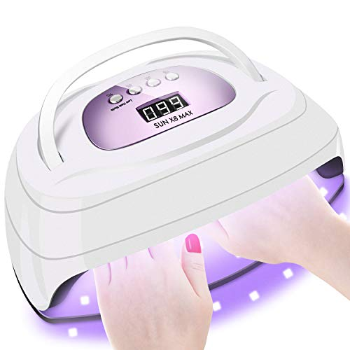 150W UV LED Nail Lamp for Gel Polish,Fast LED UV Dryer Nail Curing Light with 57 Lamp Beads Auto Sensor,Professional Nail Art Salon Accessories with Portable Handle and Larger Space (Purple)