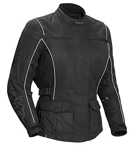 Ledershop-online 1509 Bangla Damen Motorrad Jacke Bikerjacke Textil schwarz mit Tribalmuster Gr. S