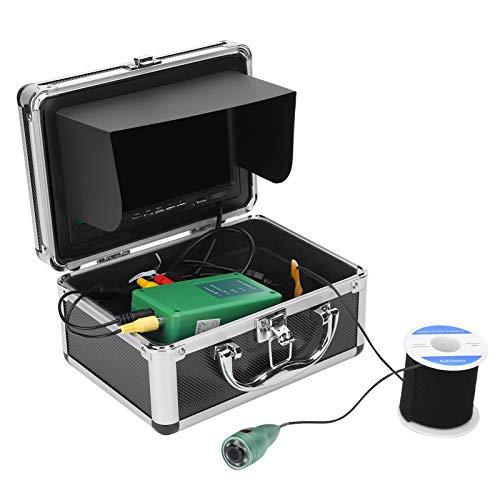 Telecamera da Pesca Subacquea LCD da 7 Pollici, fishfinder a infrarossi 1000TVL Impermeabile IP68 con 6 LED Bianchi e Cavo da 50 m, Fino a 8 Ore di utilizzo Continuo della Batteria(US)