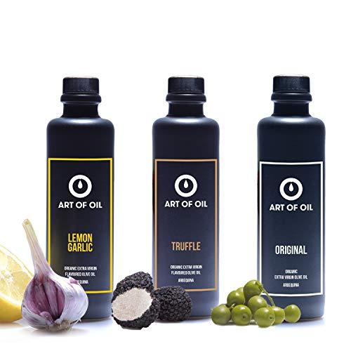Geschenkset | 200ml Olivenöl ORIGINAL, ein BIO Olivenöl mit Zitrone Knoblauch & Olivenöl mit Trüffel | In Designer Feinsteinzeug Ölflasche