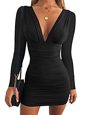 Material:polyester+spandex, super soft, stretchy,thick and very curvy, fits like a glove. Type: V-neck, high waist,long sleeve ,ruched,mini-length ,makes you fashion and sexy occasion: you can wear it to attend party cocktail ,wedding, also suitable ...