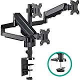 EleTab Triple Monitor Stand Mount - Full Motion Swivel 3 Monitor Desk Mount Stand Articulating Gas Spring Arms Fits Computer Screens 13 to 27 inches, Each Arm Holds up to 17.6 lbs