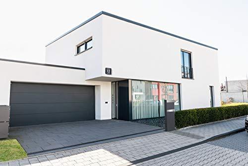 Frabox® Standbriefkasten NAMUR anthrazitgrau RAL 7016 / Edelstahl mit Hausnummer & Namen - 5