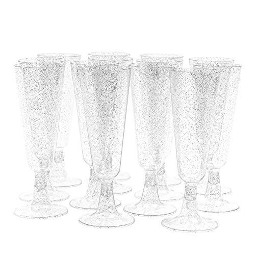Matana 50 Flute da Champagne in Plastica con Glitter Argento - 150ml