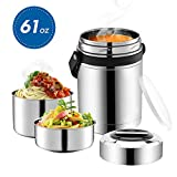 Soup Thermos Wide Mouth,61oz 3 Tier Large Food Thermos Jar,Food Flask for Hot Food with Handle,Thermal Soup Container,Stainless Steel Food Thermos,Travel Insulated Lunch Box,Lunch Container