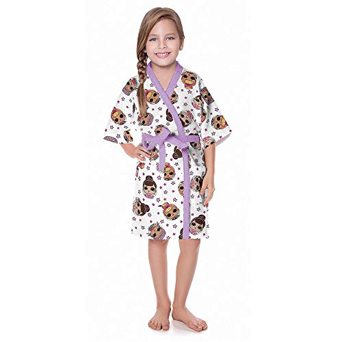 Roupão infantil m lol felpudo quimono lilás - lepper