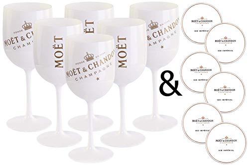 6 x Moët & Chandon Ice Impérial acrilico calici Bicchieri da Champagne bianco / oro